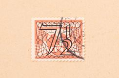 THE NETHERLANDS 1950: A stamp printed in the Netherlands shows it`s value, circa 1950. A stamp printed in the Netherlands shows it`s value, circa 1950 stock photography