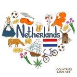 Netherlands symbols in heart shape concept. Colorful sketch collection of Netherlands symbols. Heart shape concept. Travel background Royalty Free Stock Image
