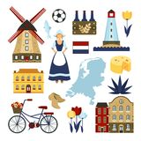 Netherlands Symbols Set Stock Photography