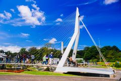 netherlands Tana Haag L'Olanda Meridionale Parco miniatura Madurodam Luglio 2016 Miniatura del ponte di ERASMUS, Rotterdam fotografie stock