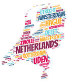 Netherlands top travel destinations word cloud Royalty Free Stock Image
