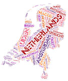 Netherlands top travel destinations word cloud Royalty Free Stock Photo