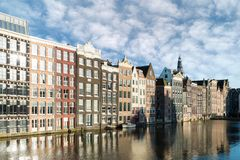 Netherlands traditional houses and Amsterdam canal in Amsterdam royalty free stock photos