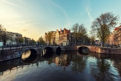 Netherlands traditional houses and Amsterdam canal in Amsterdam royalty free stock photo