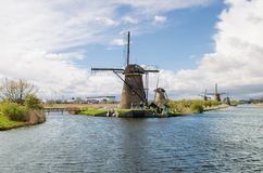 Netherlands traditional windmill landscape at Kinderdijk near Ro Stock Images