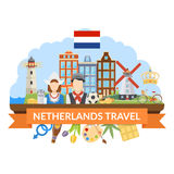 Netherlands Travel Flat Composition Stock Images