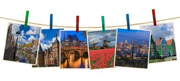 Netherlands travel images my photos on clothespins. Isolated on white background Royalty Free Stock Photos
