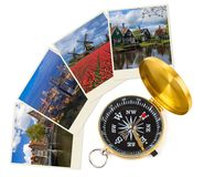 Netherlands travel images my photos and compass. Architecture and nature concept Royalty Free Stock Photography