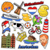 Netherlands Travel Stickers, Patches, Badges Royalty Free Stock Images