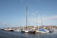 Docked boats in the port of Urk. NETHERLANDS - URK - MARCH 8, 2019: Docked boats in the port of Urk stock photos