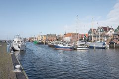 Docked boats in the port of Urk. NETHERLANDS - URK - MARCH 8, 2019: Docked boats in the port of Urk royalty free stock photography