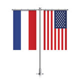 Netherlands and USA flags hanging together. Stock Photo