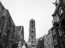NETHERLANDS, UTRECHT - OCTOBER 25, 2015: Big ancient gothic church. Traditional European architecture. Black-white photo. Utrecht Royalty Free Stock Photography