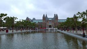 Netherlands videoclip national museum called Rijksmuseum at museum square City of Amsterdam stock footage