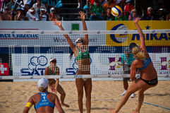 Netherlands vs Brazil. Photo could be used to cover story about recent event in Phuket http://www.fivb.ch/EN/BeachVolleyball/Competitions/WorldTour/2010/Event/? Stock Image