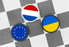 Netherlands vs European union and Ukraine. Draughts (Checkers) - Netherlands vs European union and Ukraine. Problem after referendum about association agreement royalty free stock photo