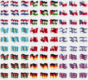 Netherlands, Western Sahara, Czech Republic, Kazakhstan, Tonga, Israel, Kenya, Germany, United Kingdom. Big set of 81 flags. Stock Photo