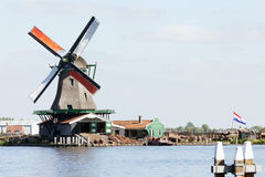 Netherlands windmill landscape Stock Photos