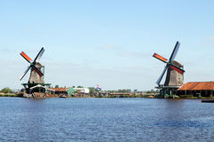 Netherlands windmill landscape Stock Photos