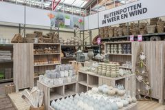 Home accessories in garden center Intratuin. Royalty Free Stock Photo