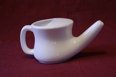 Neti Pot. Close up shot of a white neti pot Stock Images