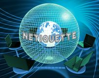 Netiquette-höfliche on-line-Führung oder Netz-Etikette - Illustration 3d lizenzfreie abbildung