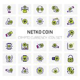 NETKO Coin Crypto Currency icons set. For web design and application interface, also useful for infographics. Vector illustration Stock Images