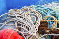 Nets. Colored fishing nets made in bulk stock images