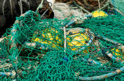 Nets. Drying Fishing Nets on a French quay Royalty Free Stock Images