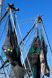 Nets on commercial fishing boats Stock Image