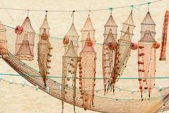 Nets and fish traps in Nazare (Portugal) Stock Images