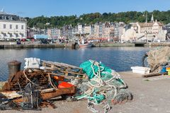 Nets and fishing equipment in harbor of Honfleur, France royalty free stock photo