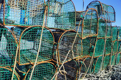 Nets in a port b. Several fishing nets in a port Stock Photos