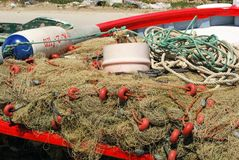 Nets in Spanish fishing boat. Stock Photos