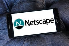 Netscape computer services company logo. Logo of Netscape company on samsung mobile. Netscape is a brand name associated with the development of the Netscape web royalty free stock photo