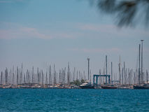 Netsel小游艇船坞,马尔马里斯港,土耳其- 6月11,2017 :Netsel场面  库存图片