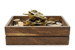 Netsuke toad on heap of coins. On white background Royalty Free Stock Images