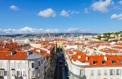 Nett, Frankreich - 17. Oktober 2011: Die Draufsicht über die alte Stadt Stockbilder