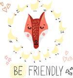 Nett, reizend, recht und einfaches Tier stellt Skizze, Fuchs und Hennen gegenüber Kritzeln Sie die Artikonen für Kinder, perfekt  stock abbildung