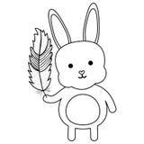 Nett wenig anhebender Federcharakter des Kaninchens lizenzfreie abbildung