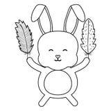 Nett wenig anhebender Federcharakter des Kaninchens stock abbildung