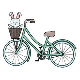 Nett wenig Kaninchen im Fahrrad mit Korb stock abbildung