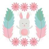 Nett wenig Kaninchen mit Blumen und Federrahmen lizenzfreie abbildung