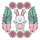 Nett wenig Kaninchen mit Blumen und Federrahmen vektor abbildung