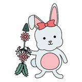 Nett wenig Kaninchen mit Blumen und Pfeilen stock abbildung