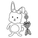 Nett wenig Kaninchen mit Blumen und Pfeilen vektor abbildung