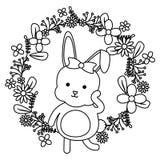 Nett wenig Kaninchen mit Blumendekorationsrahmen stock abbildung