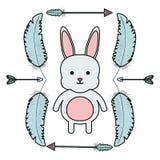 Nett wenig Kaninchen mit Federn und Pfeilrahmen vektor abbildung