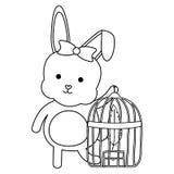 Nett wenig Kaninchen mit Käfigvogel und -federn stock abbildung