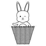 Nett wenig Kaninchen mit Korbstroh stock abbildung